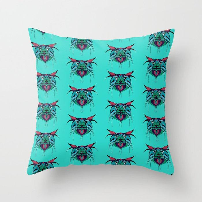 Tribal Cats 3 Throw Pillow