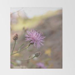 Purple Flowers Vintage on the Beach Throw Blanket