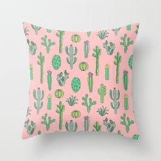 Cactus Pattern Pink Throw Pillow