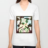 window V-neck T-shirts featuring WINDOW by Bluetiz