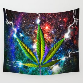 Weed Leaf in Space Wall Tapestry
