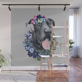 Flower power great Dane Wall Mural