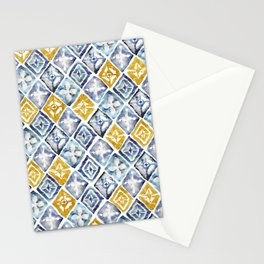 Blue and Gold Tribal Tiles Stationery Cards