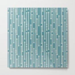 Dotted Lines in Teal, Cream and Sea Foam Metal Print