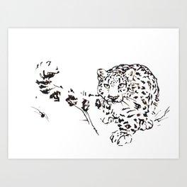 Ink Snow Leopard Art Print