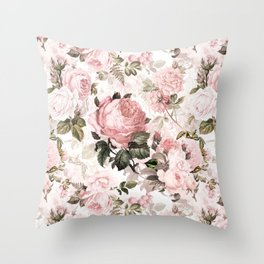 Vintage & Shabby Chic - Sepia Pink Roses  Throw Pillow