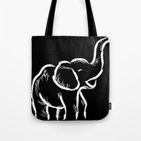 baby elephant Tote Bags featuring Baby Elephant by Karen Hischak