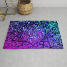 REACH FOR THE STARS Bold Midnight Blue Purple, Galactic Stars Space Abstract Fine Art Painting Rug