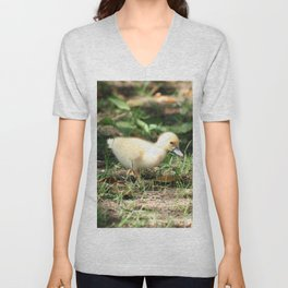 Baby Duckling strolling on a lawn Unisex V-Neck
