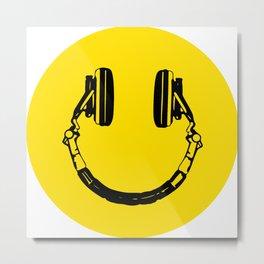 Smiley Headphone - acid house Metal Print