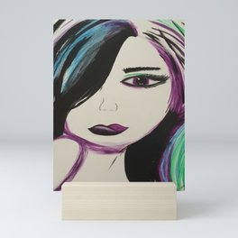 Colorful Girl. Abstract Girl Purple Green.Pop Art by Jodilynpaintings. Figurative Abstract Pop Art. Mini Art Print