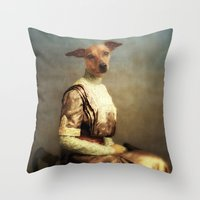 bambi Throw Pillows featuring Bambi by Martine Roch