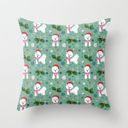 Bichon Frise dog Christmas pattern Throw Pillow