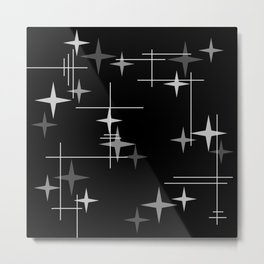 Mid Century Modern Stars (Black) Metal Print