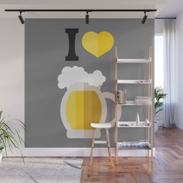 I love beer sign with mug drawing Wall Mural