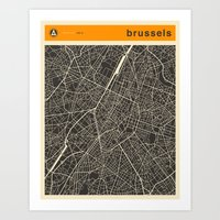 brussels Art Prints featuring Brussels Map by Jazzberry Blue