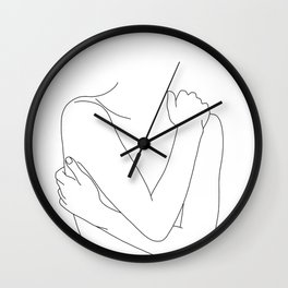 Crossed arms nude figure - Emie Wall Clock
