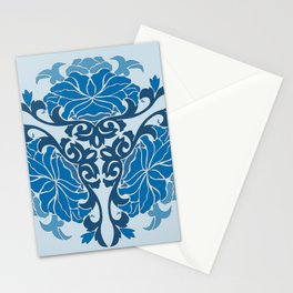 Blue Chinese Floral Medallion Stationery Cards