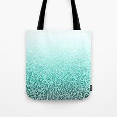 Ombre turquoise blue and white swirls doodles Tote Bag