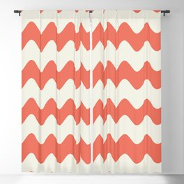 Pantone Living Coral & Cannoli Cream Soft Zigzag Rippled Horizontal Line Pattern Blackout Curtain