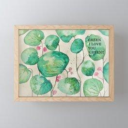 green I love you green Framed Mini Art Print