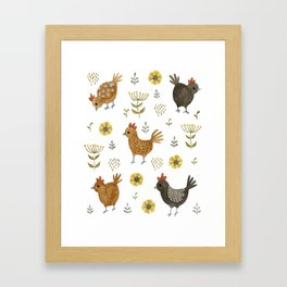 chicken floral Framed Art Print