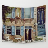 jewish Wall Tapestries featuring Blue Shutters in the Sun by Brown Eyed Lady