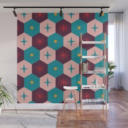 Honeycomb with atomic elements Pattern Wall Mural