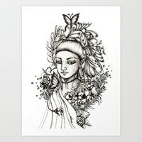 fairy Art Prints featuring Fairy by Anca Chelaru