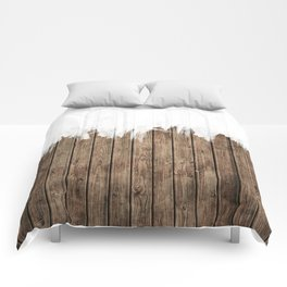 White Abstract Paint on Brown Rustic Striped Wood Comforters