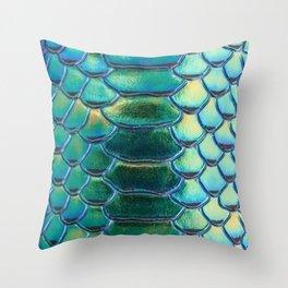 Iridescent Green Blue Snake Throw Pillow