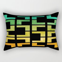 Colorful Watercolor gouache On Black Background Teal Turquoise Yellow Gradient Mid Century Modern Rectangular Pillow