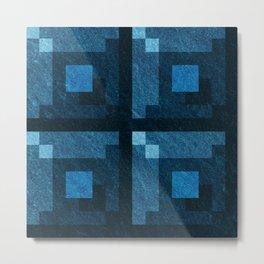 Blue Green Pixel Blocks Metal Print