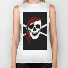 Creepy Pirate Skull and Crossbones Biker Tank