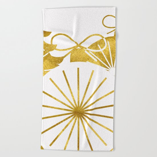 Gold Christmas 01 Beach Towel