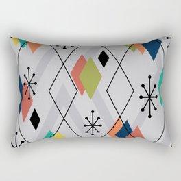 Mid Century Modern Scattered Diamonds Gray Multicolored Rectangular Pillow