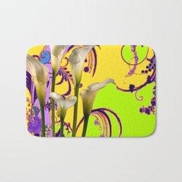 Fantasy Calla Lily Garden Gold-Lilac-Lime Color Designs Bath Mat