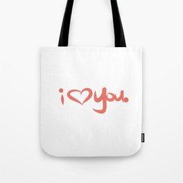 I Love You in Peach Tote Bag