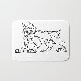 Lynx Prowling Black and White Mosaic Bath Mat