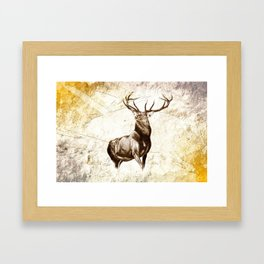 Antique stag art drawing handmade nature painting Framed Art Print