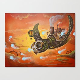 flying  steampunk turtle Canvas Print
