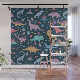 Dinosaur + Flowers Pattern Wall Mural