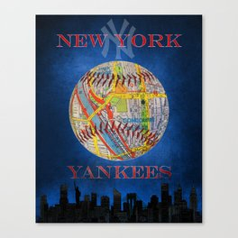 Yankees poster with map of stadium Canvas Print