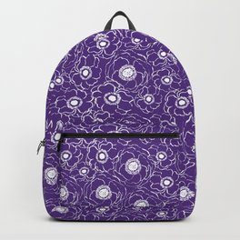 Purple and white floral pattern clemson football college university alumni varsity team fan Backpack