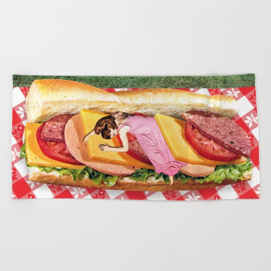 OUT TO LUNCH Beach Towel