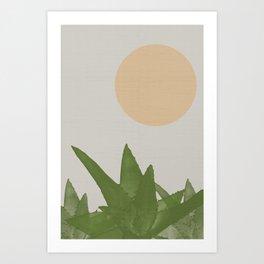 Aloe and moon Art Print