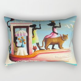 African American Masterpiece 'Too Early or Too Late' by O. Bulman Rectangular Pillow