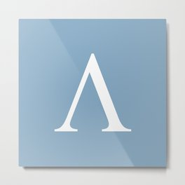 Greek letter lambda sign on placid blue background Metal Print