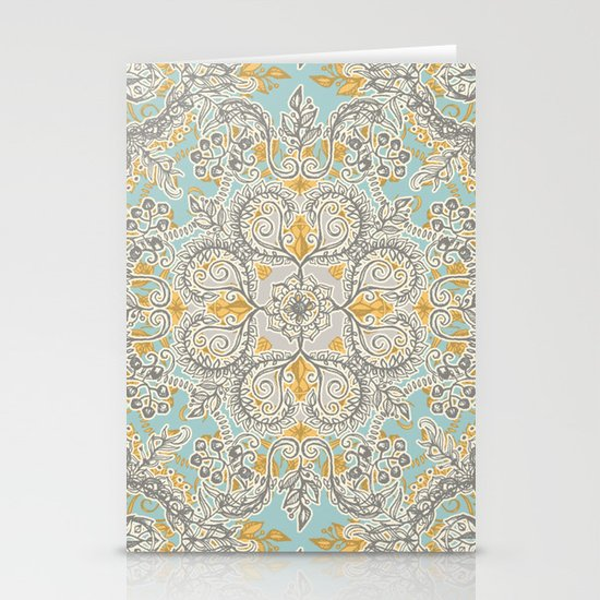 Gypsy Floral in Soft Neutrals, Grey & Yellow on Sage by micklyn