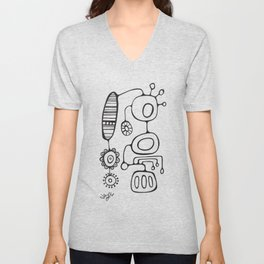 Orbs N Lines - Feather Flower Chime Unisex V-Neck